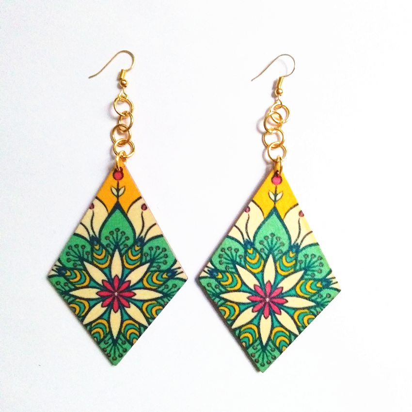 6305ba02853 12 pcs lot Green Red Colorf Cube Shaped Flower Wood Drop Earrings Both  Sides Same Printing ...