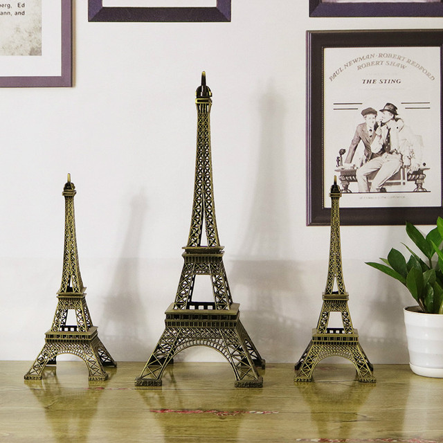 8cm-60cm Antiques Bronze Retro Paris Eiffel Tower Home Decor Table Ornament Statue Metal Steel 4