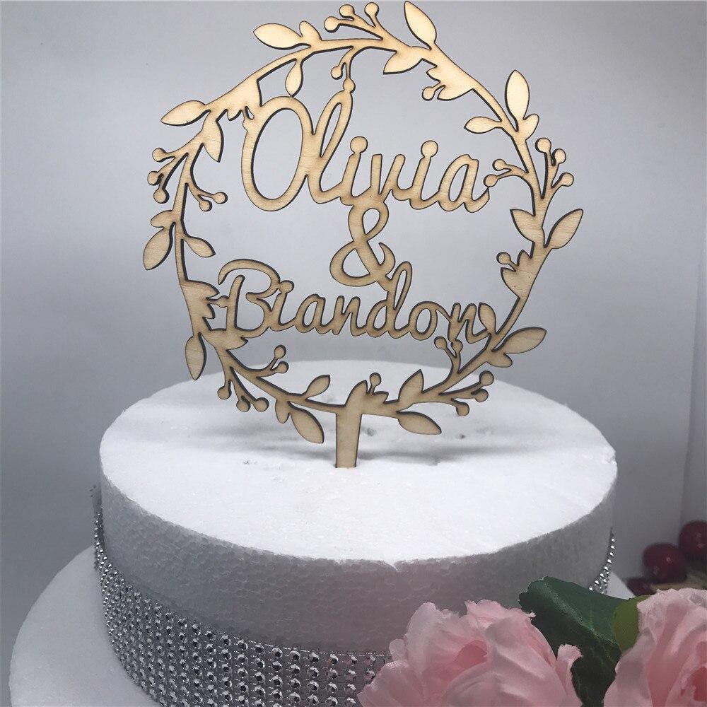 Wooden Custom Flower Wedding Cake Topper Personalized Acrylic ...
