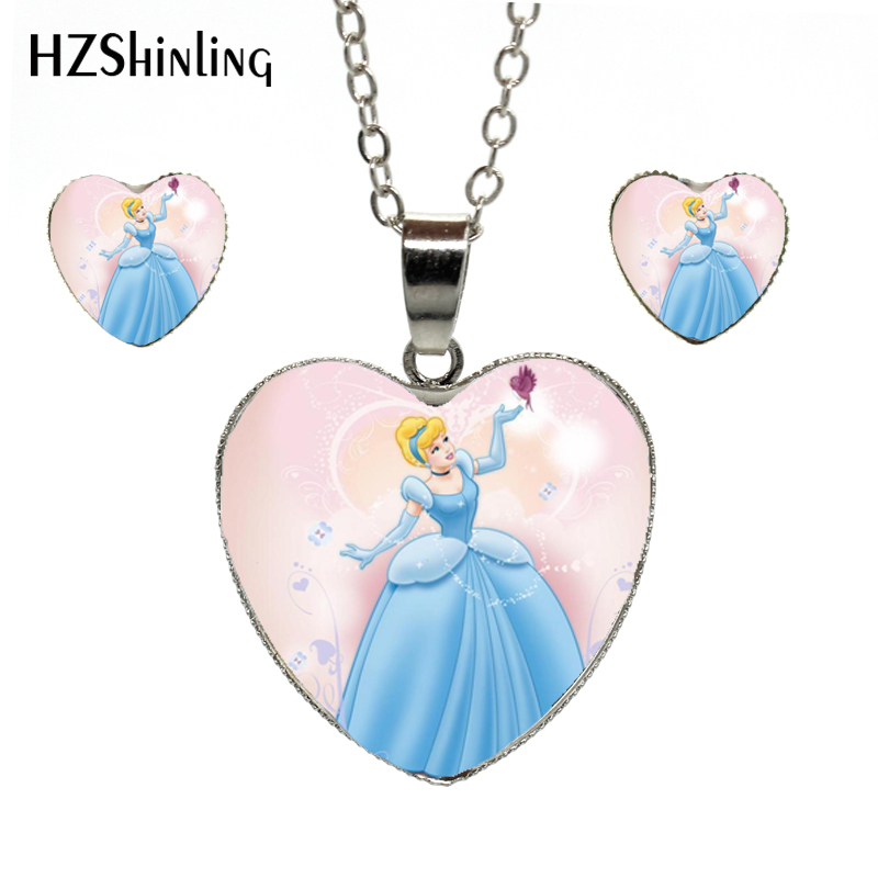 New Arrival The Long Chain Jewelry Lovely Princess Heart Shaped Suit Princess Elsa Anna Snow Queen Heart Necklace And Earrings Be Friendly In Use