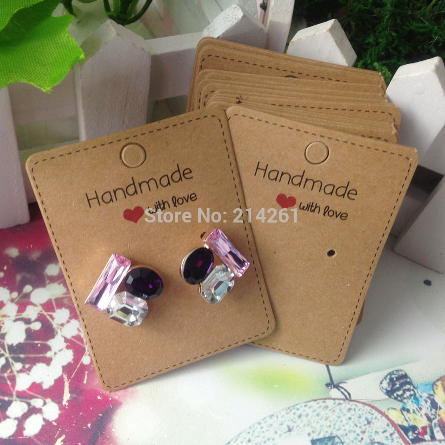 DIY Hand font b Made b font With Love Kraft Earring Card For 1 pair Earring