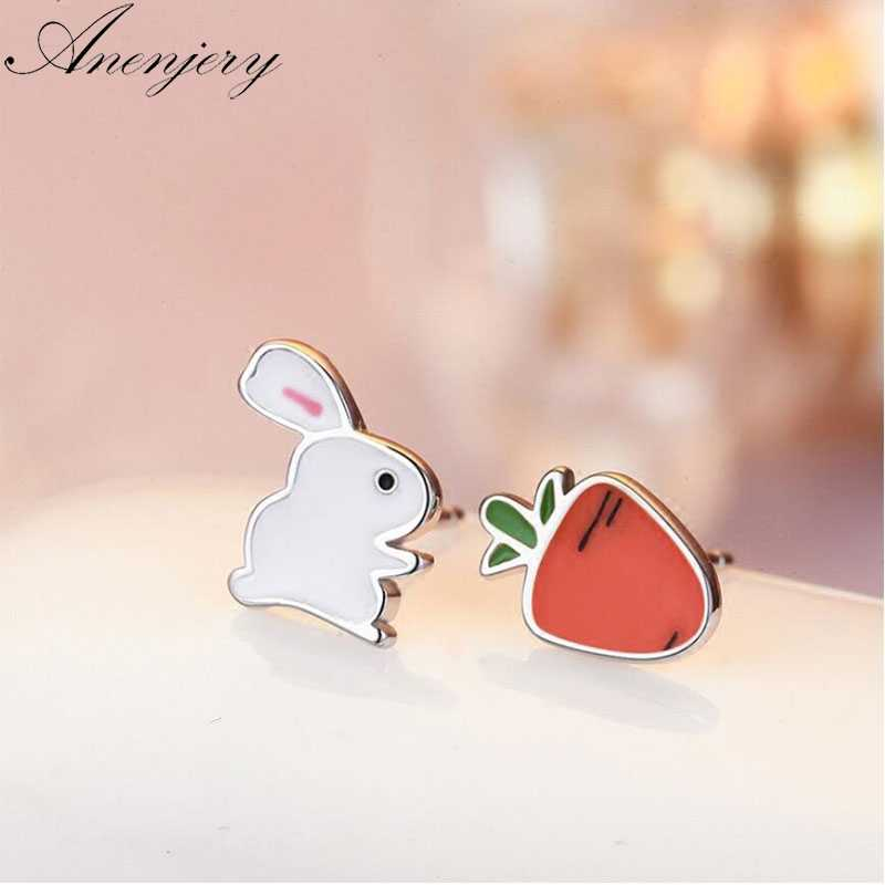 Anenjery 925 Sterling Silver Tiny Rabbit Radish Cartoon Animal Earrings For Women School Girl Birthday Gifts Party S-E560