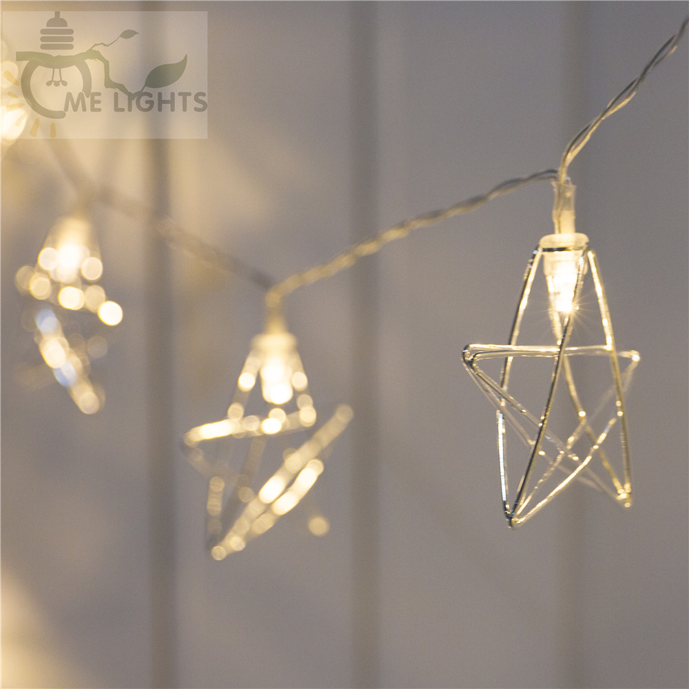 Novelty LED Fairy Lights 20 Metal Star String Light Battery Powered Christmas Holiday Garland Light For Party Wedding Decoration