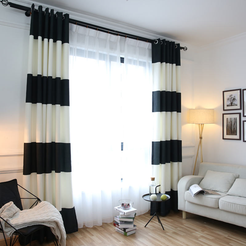 Black White Splicing Striped Blackout Curtains For The
