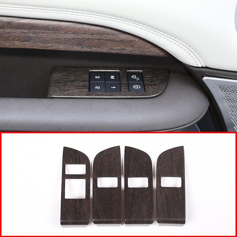 4 pièces chêne bois ABS voiture enfant sécurité serrure de porte bouton de commutation garniture de couverture pour Land Rover Discovery 5 L462 2017 2018 LR5