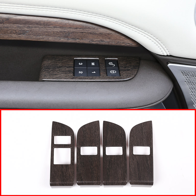 4pcs Oak Wood ABS Car Child Safety Door Lock Switch Button Cover Trim For Land Rover Discovery 5 L462 2017 2018 LR5 inner car door moulding trim cover for land rover l462 discovery 5 2017 2018 4pcs