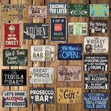[WellCraft] BAR WHISKEY café pastel BBQ cocina cerveza Metal carteles arte Retro Mural pintura personalizada decoración LT-1752