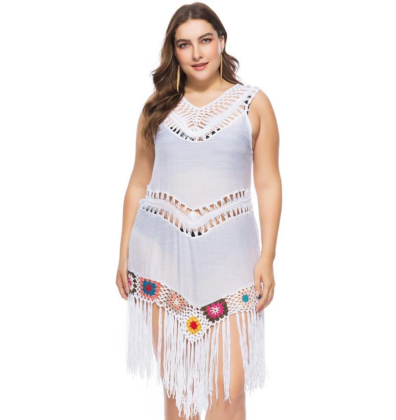 d8e9e478476 Plus Size Summer Womens Tunic Tassel Crochet Bathing Suit Bikini Swimwear  Cover Up Fringe Knitted Beach Dresses Tankini-in Cover-Ups from Sports ...