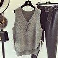 Небольшой Свежий Корейский Вязание Жилет V-образным Вырезом Тонкий Весна Лето Одежда Свободные Трикотажные Топы Для Женщины