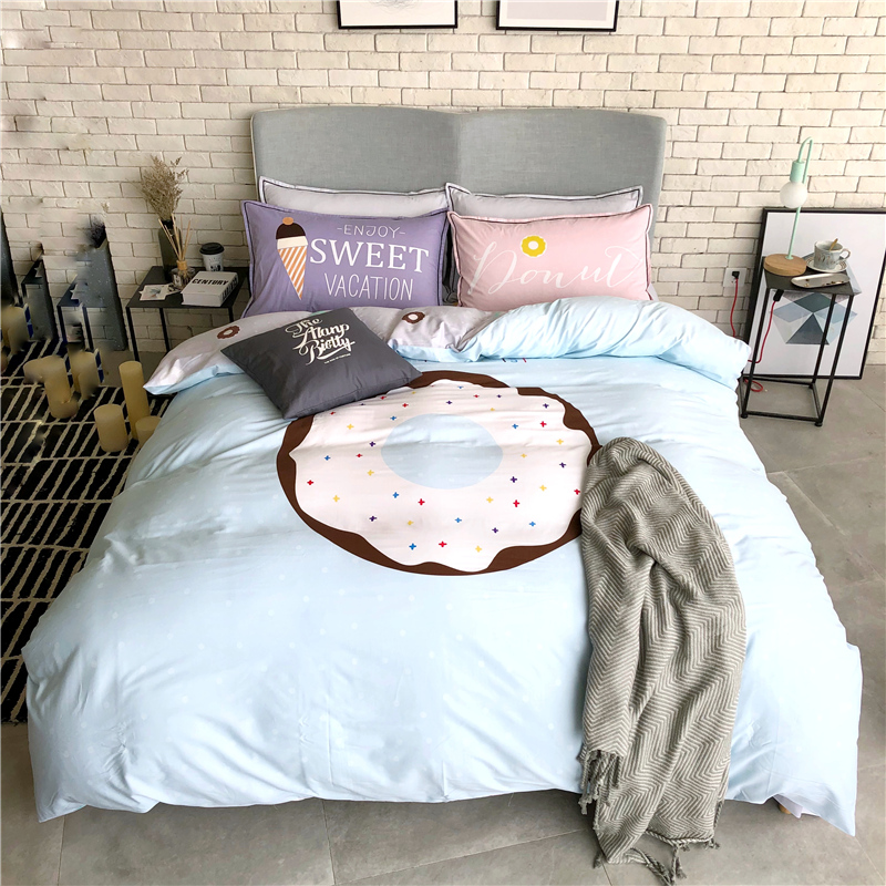 Fashion 100% Cotton Bedding Set Printed simple fresh Duvet cover set Bed Sheet Fitted Sheet <font><b>Pillowcases</b></font> Queen size 4Pcs image