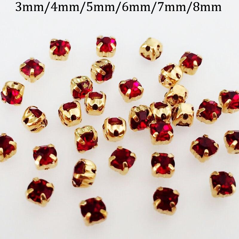 Dark red color Golden background loose rhinestones 96370c103930