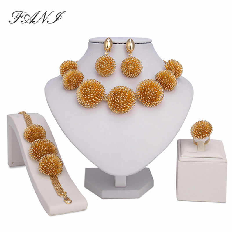 2017 Fashion Dubai Jewelry Sets Bridal Gift Nigerian wedding accessories big african Gold-color jewelry set Wholesale design