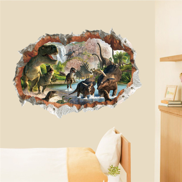 Dinosaurs Hole Wall Stickers Living Room Bedroom Decoration Juric Age Animals Wild Safari Mural Art