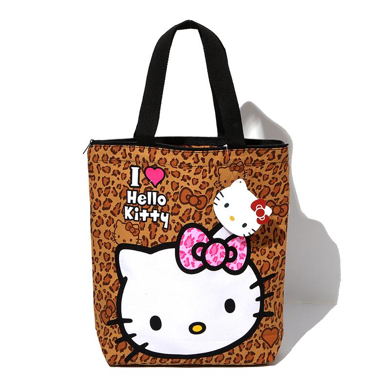 9721fb5b47 Cartoon Cute Hello Kitty Leopard Women Shoulder Bags Girls School Book Handbag  Reusable Tote Shopping Bag Zipper. 72  73  67 68 ...