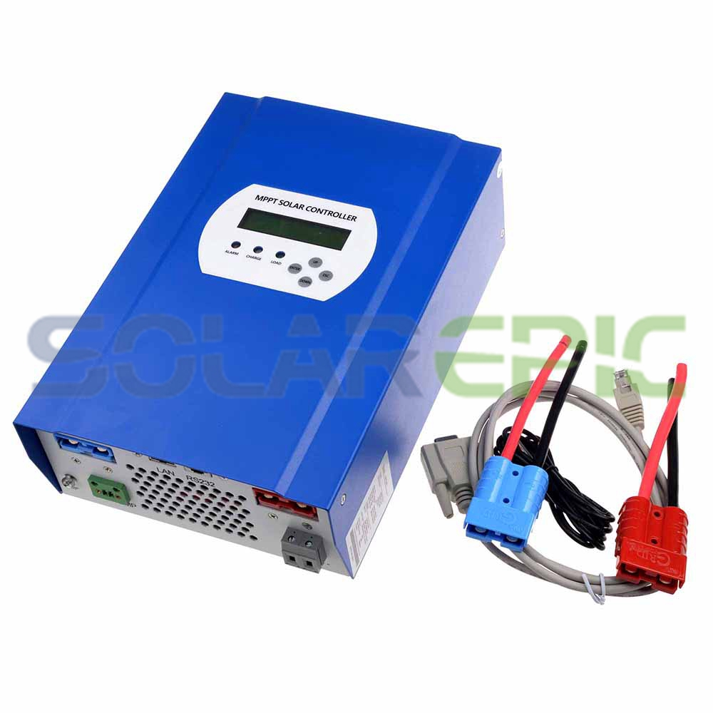 50A MPPT Solar Controller 12V/24V/48V DC Auto DC Output Max 150V PV Input Battery Regulator Charger RS232/LAN Connector mppt solar charge controller 48v 40a 12v 24v 48v auto work with rs232 lan dc load ctrl 40a 48v pv regulator easy