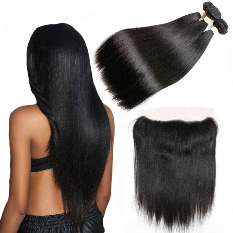 Beaudiva paquetes de cabello humano con 13x4 cierre Frontal brasileño recto de la armadura del pelo humano paquetes con cierre de la extensión del pelo
