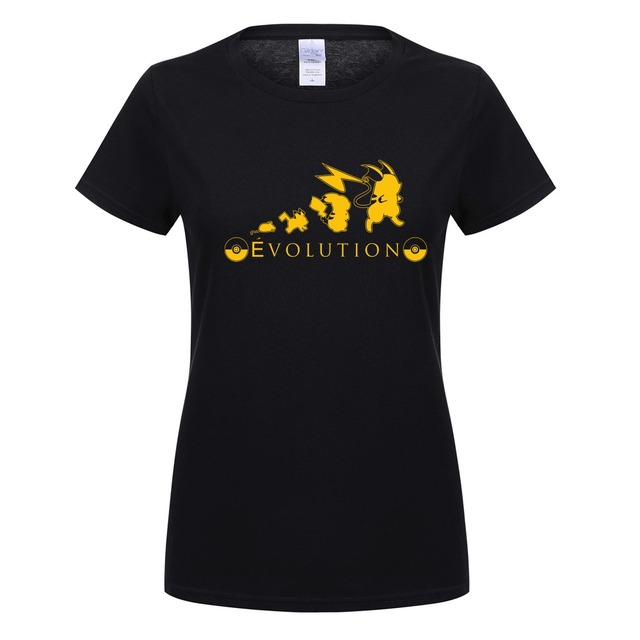 2420d326 Summer New Pikachu Evolution T Shirt Funny Women Short Sleeve Cotton T Shirt  Pika Girl T-shirt Pokemon Go Female Clothing OT-256