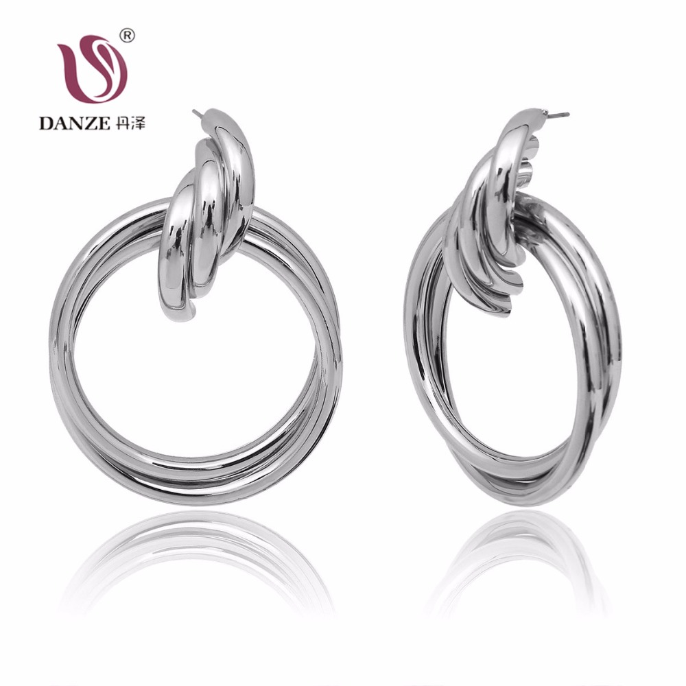 DANZE Super Modern Metal Gold Silver Dangles Earrings for Women Girls Party Banquet Drop Earrings Female Accessories