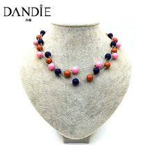 Dandie Acrylic Bead Short Necklace, Statement Costume Jewelries, A Set of Three pcs