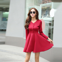 Plus Size Autumn Winter V neck Vintage Dress Black/Red/Wine Red Work to Wear OL Ladies Formal Slim A line High Waist Dresses