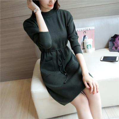 Autumn Winter Women Dress New Fashion Slim Long-sleeved Knitted Pullover Sweater Dress Half-height Collar Sweater Female YAGENZ