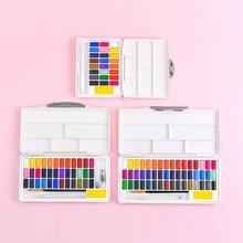 Macaron סגנון מוצק בצבעי מים פיגמנט סט 24/36/48 צבע למתחילים נייד עם צבע פלטת אספקת אמנות