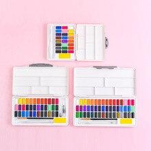 Macaron estilo sólido aquarela pigmento conjunto 24/36/48 cor iniciante portátil com cores paleta arte suprimentos