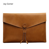 Joy Corner Drop Shipping Business Fashion Document Bag Leather Retro File Storage Genuine Leather For Papers