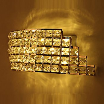 Modern LED Crystal Corridor Wall Light Stair Shape Arc Bedroom Wall Lamp Mirror Front Balcony Hallway Wall Lighting Fixtures