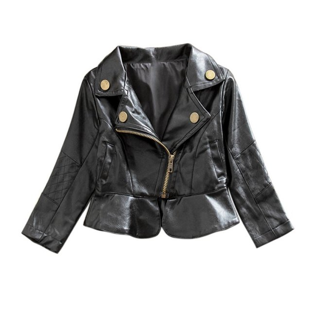 2-6T Baby Girls Jackets Fashion Motorcycle PU Leather Jacket Kids Outerwear Coat