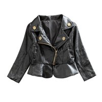 Sonbahar Moda Motosiklet Kız Ceketler Siyah PU Deri Ceket Tops Çocuk Çocuk Kabanlar Coat 2-6 T