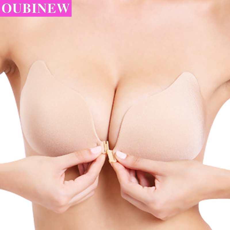 OUBINEW Fly Bra Strapless Silicona Push Up Invisible Bra Autoadhesivo Sin respaldo Bralette Tallas grandes Sujetadores sin costuras Mujeres Íntimos