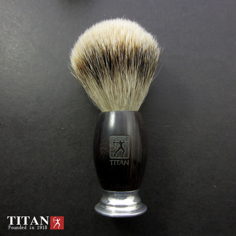 100% Ebony Handle Titan Men Shaving Brush Silvertip Badger Brushes Pincel Badger Hair Knot Brocha De Afeitar Pennello Da Barba