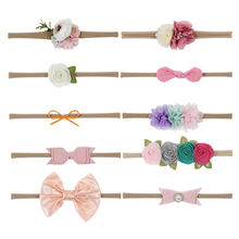 Nishine New Newborn Hair Bows Flower Headband Elastic Kids Handmade Headbands Set Accessories Christmas Gift