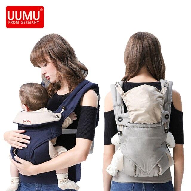 UUMU Cotton Breathable Ergonomic Baby Backpacks Carrier Slings Wrap Holder Hipseat Shoulder Waist Belt Sling Backpack Gear Ring 3