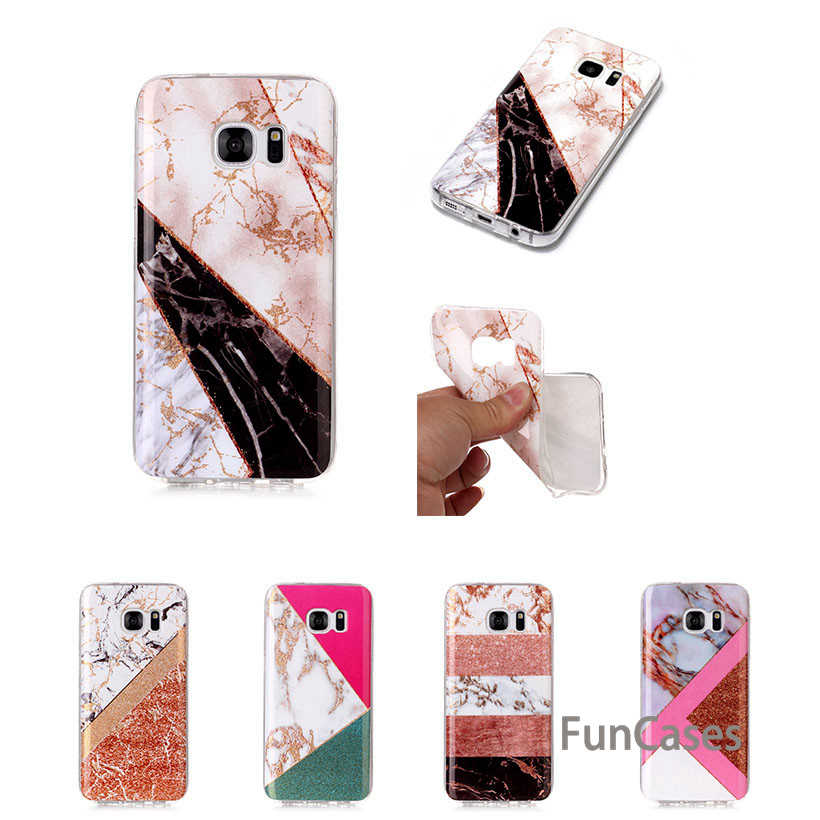 Case untuk Samsung Galaxy S6 S7 Silicone Case Samsung S6 S7 Edge Case Glitter Bubuk Marmer Lembut Tpu Ponsel Case SM Phomes