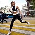 Бесплатная доставка 2016 Высокая Мода Спортивный Костюм Для женщин Костюм 2-х Частей Набор Летний Костюм Белый Лоскутное (короткий Топ + Длинные Брюки)