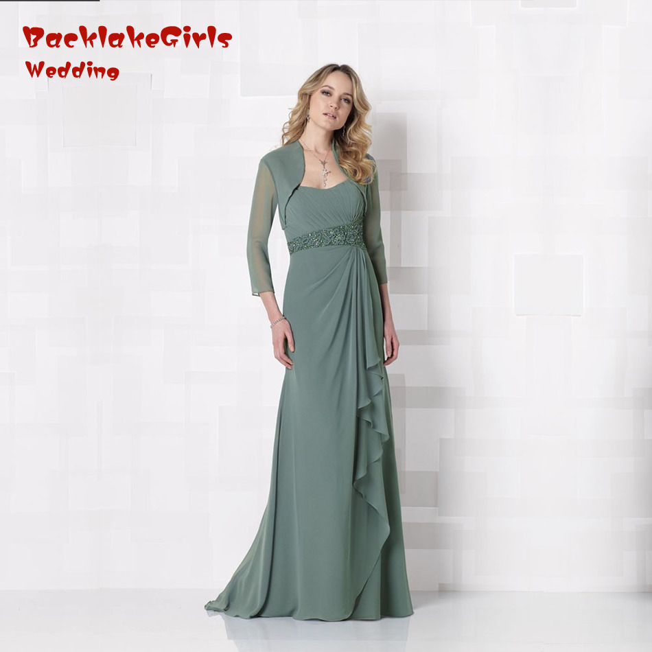 new arrival 2017 mother of the bride dresses beach sleeveless with jacket evening dress floor length vestido de madrinha md149