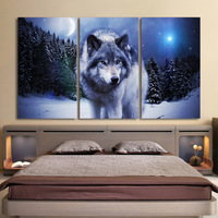 3 Pieces Canvas Art Paintings Printed Snow Wolf Moon Wall Art Print Canvas Paintings Home Decor