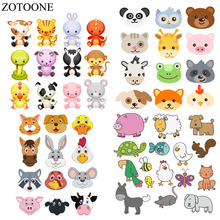 ZOTOONE Lovely Animal Patches Set Heat Transfer Applications For Kids Clothes DIY T-shirt Applique Bird Dog Cat Fox Patch E