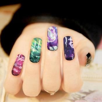Wholesale Broken Glass Galaxy Shiny Glitter Aurora Iridescent Glaze Magic Shell Nail Sticker Candy Sky Irregular nail Foil Decal