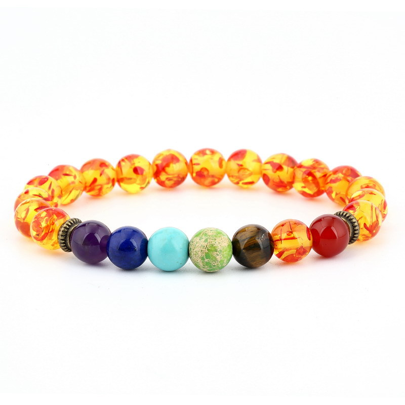 High Quality Boho Yoga Rainbow Bead Red Natural Stone Chakra Bracelet For Men Women Girls Gift Handmade Rosary Jewelry