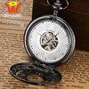Ouyawei Mechanical Pocket Watch Men Vintage Black Hollow Case Hand Wind Clock Necklace Pocket Fob Watches