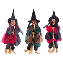 Halloween Witch Hanging Decoration Voice Control Riding Broom Pendant With Scream And Red Light Funny Prank Toy