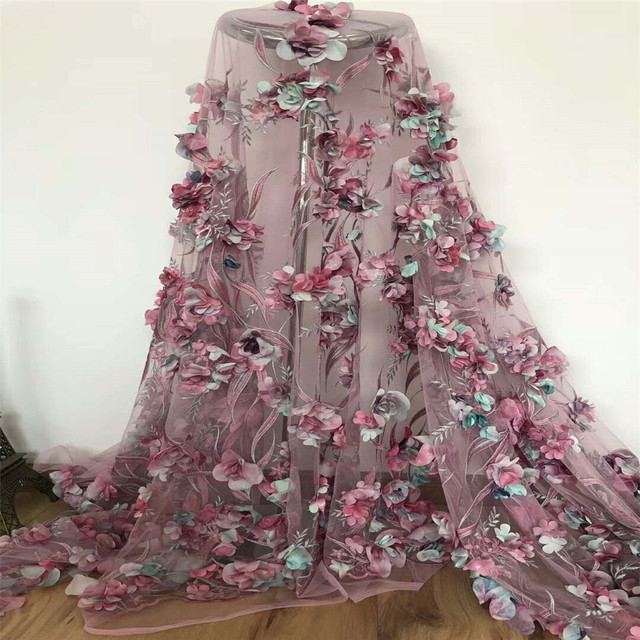 African Lace Fabric 3D Flower High Quality 2018 French Tulle Lace Fabric Appliqued Nigerian Net Lace For Wedding Dress H462-1