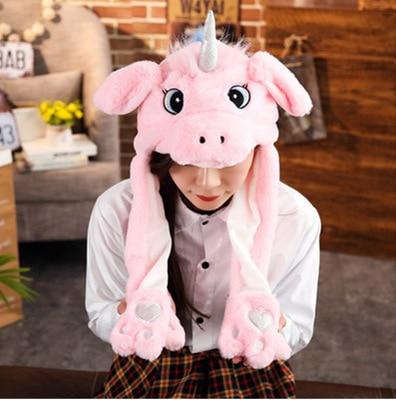 Новинка, Мультяшные шапки с подвижными ушками, милый Игрушечный Кролик, шапка с подушкой безопасности, Kawaii, забавная шапка для девочек, детская плюшевая игрушка, рождественский подарок - Цвет: Pink U