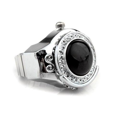 YCYS-Stretchy Black Round Agate Gem Finger Ring Watch 20mm HOT