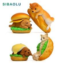 1pc Hamburger Dog Figurine Miniature Animal Decoration mini fairy garden Cartoon animal statue resin craft Home Car