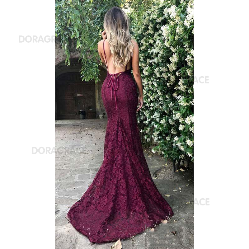 Doragrace Real Photo Sexy Deep V Neck Sleeveless Spaghetti Straps Backless Prom Dress Mermaid Prom Gowns Lace Evening Dresses in Evening Dresses from Weddings Events