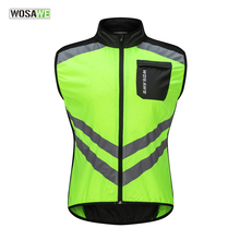 WOSAWE Reflective Cycling Vest Ciclismo Motorcycle Sports Team Uniform Bike Clothing Warning High Visibility Safety Green